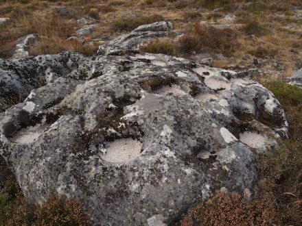 Figure 30B - Granite weathering in the form of very circular cups (see keys for scale) (Serra de Freita, Arouca, Portugal)
