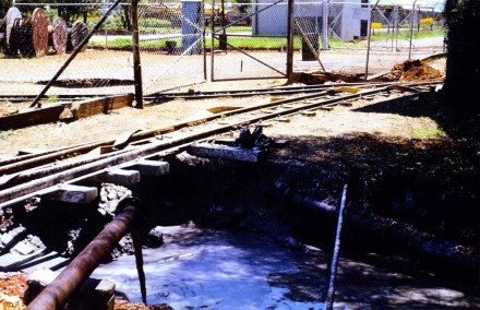 Small sink hole under a railway line (Bufulsfontein Mine - Stilfontein - S. Africa).