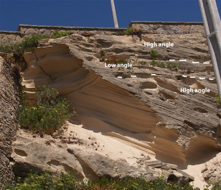 Figure 91 - Cross stratification in a coastal dune (Magoito, Portugal)(fig. 57B).