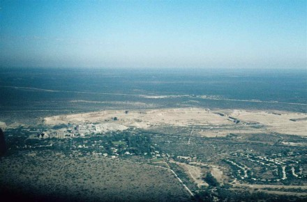 Figure 176 - Ulco from the air, with the township on the right, the quarry in the middle, and the factory complex on the left (South Africa).