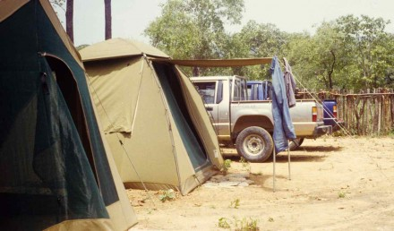 Figure 149 - My camp, and whole vehicle fleet, my tent and the office (Bentiaba, Angola).