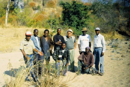 Figure 146 - My Angolan prospecting staff and me in the vicinity of our camp at Bentiaba.